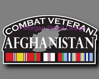 Afghanistan Combat Veteran Die Cut Vinyl Decal Sticker