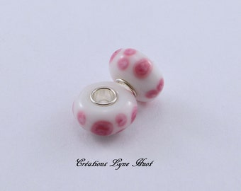 Choose 2 or 5 Murano glass beads charm Européan style ! White and Pink color !