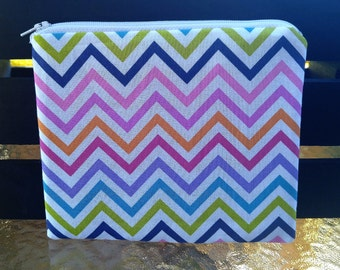Rainbow Chevron Zipper Pouch