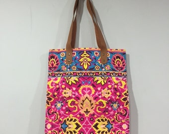Tribal Canvas Tote Bag, Neon Fabric, Leather Handles, Pink