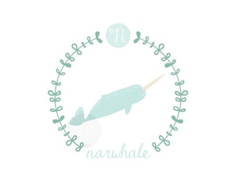 N is for Narwhale, letter print, nursery decor, instant download birth print, Narwhale, cute name print, bunting, DIY name