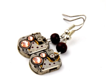 Pair of steampunk watch Movement earrings. Vintage Clockwork  with peach color swarovski crystals. Art Deco - Jewelry - steampunk Jewellery