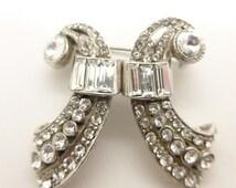 Vintage Art Deco Bow Duette Dress Clip Brooch Pin - Super Design