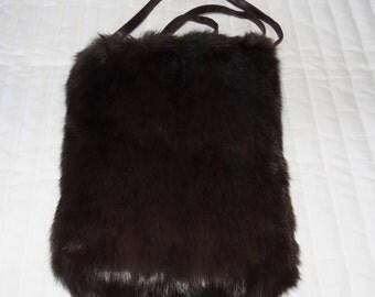 Genuine brown Rabbit fur over the shoulder Handbag