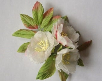 The branch of wild rose brooch hair clip