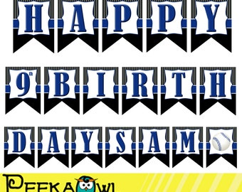 Printable Baseball birthday Banners - Boys baseball birthday banners - Printable Party birthday banners - Boy baseball birthday party banner
