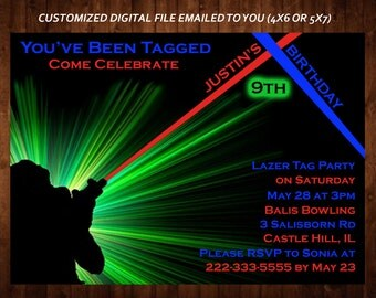 LASER TAG Themed Birthday Party Invitation, Laser Tag Custom Kid's Party Invitation, Custom Digital File, DIY Print