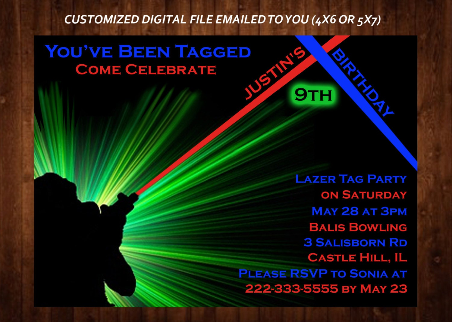 laser tag themed birthday party invitation laser tag custom, Party invitations