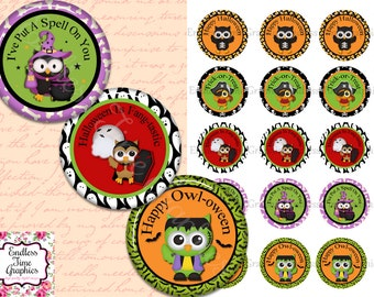 Halloween Bottle Cap Images. 1 Inch Digital Cupcake Toppers. 1 Inch Circles for Pendant Necklaces, Badge Reels, Hair Bow Centers 161