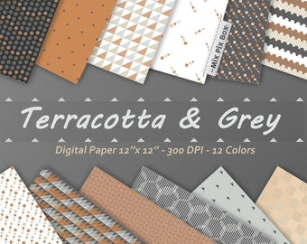 Terracotta Gray Digital Paper Pack, GrayTextured Background Papers, Brown background, Digital texures