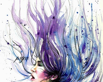 Free, A3 original watercolor artwork by Psyca