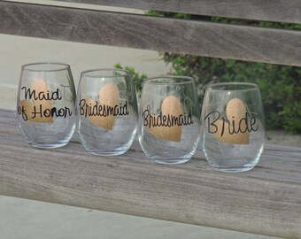 Bridesmaid wine glasses, will you be my bridesmaid glass, will you be my maid of honor wine glass, personalized wine glass, stemless glass