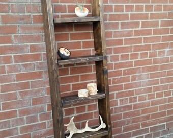 Rustic wood ladder shelf || freestanding rustic ladder bookcase shelf