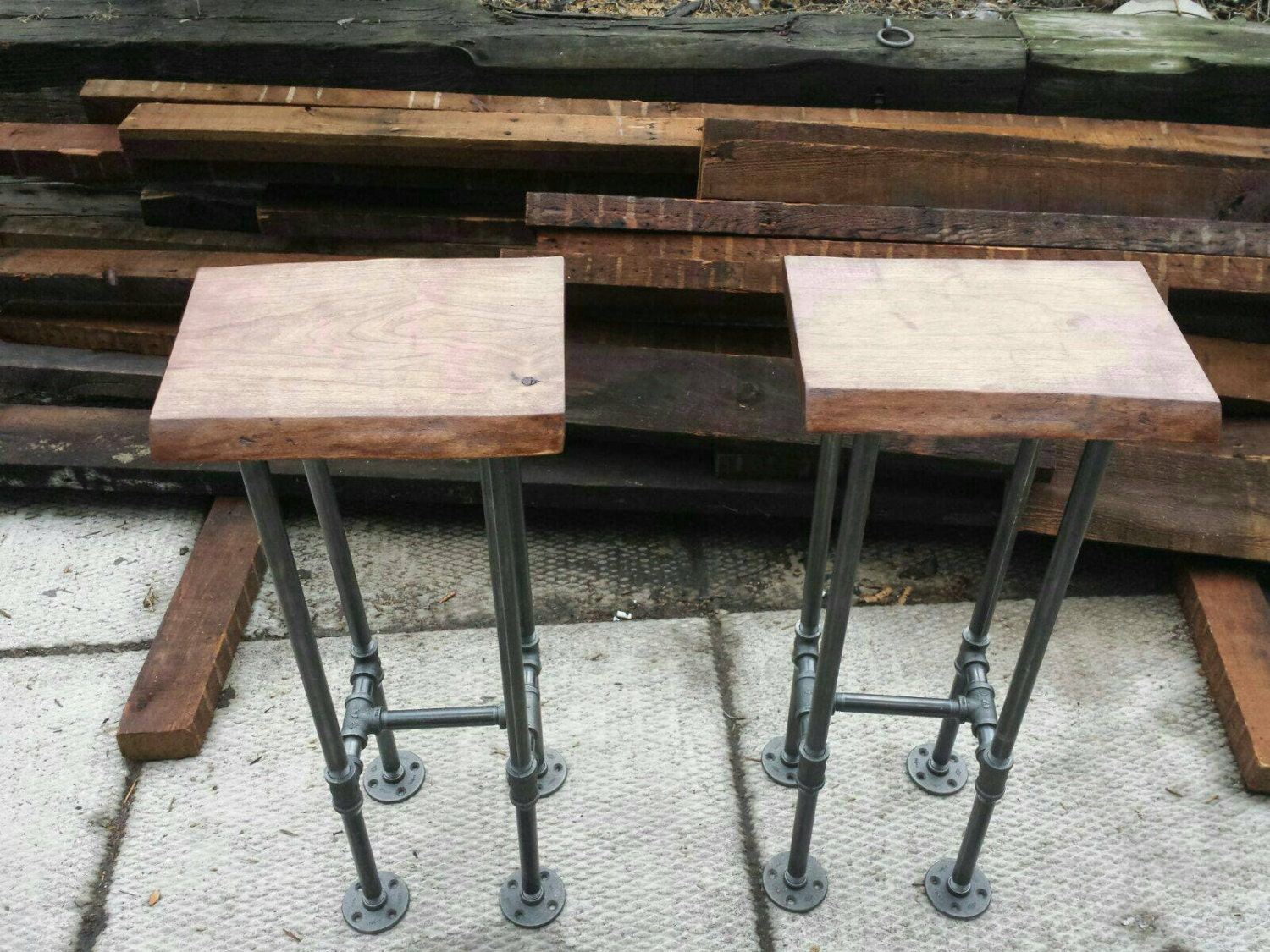 Reclaimed wood bar stool with industrial pipe legs || rustic bar stool ||  modern - Reclaimed Wood Stool Etsy
