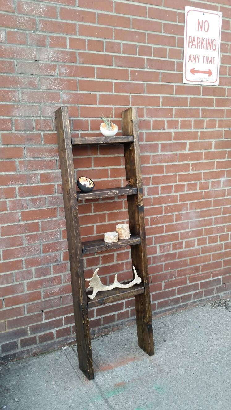 Rustic Wood Ladder Shelf Freestanding