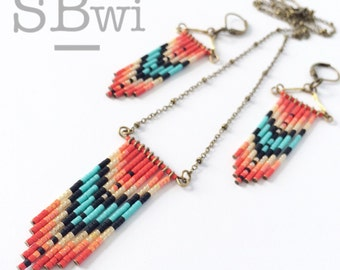 Brightly patterned, hand made earrings or necklace in bronze