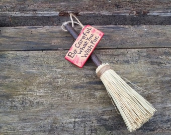 Decorative broom, Besom decoration, pagan altar broom, inspirational quote, hanging broom, witches broomstick, meditation aid, pagan gifts