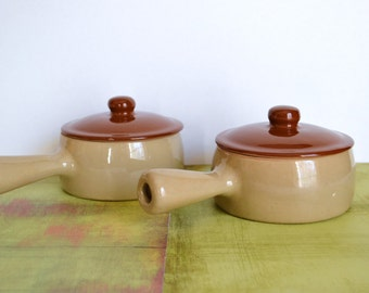 RARE 1940's York Gourmet Ware Soup Crocks With Lids And Handles - Oven Proof / Early Pfaltzgraff