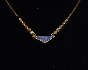 Golden Lavender Triangle Necklace