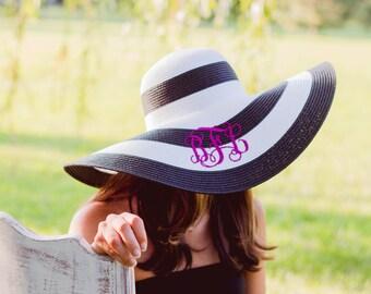 Monogram Floppy Hat   Striped Hat   Straw Hat   Beach Hat   Floppy Beach Hat   Floppy Straw Hat   Monogrammed Hat   Kentucky Derby Hat