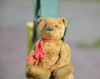 Artist Teddy Bear OOAK  Antique teddy bear  Vintage toy Plush handmade bear  Sawdust  Soft sculpture  Сlassic. collectible toy  Yellow