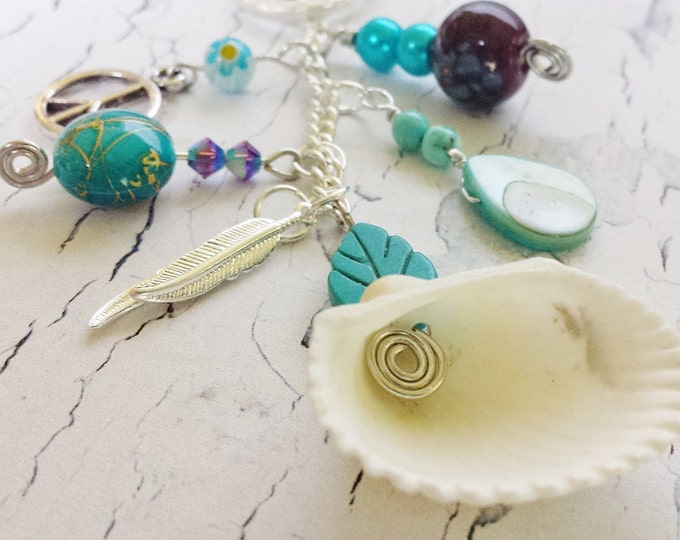 FitMyMood@ Change Out Pieces ~ Everyday Essential Gift For Her ~ Multi Look Tassel Bead Pendant ~ Turquoise Jewelry For Women, Ocean Theme