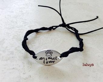 Hand Stamped Metal Stamp Paw Animal Lover Black Cord Tie On Bracelet Handmade Gift Birthday