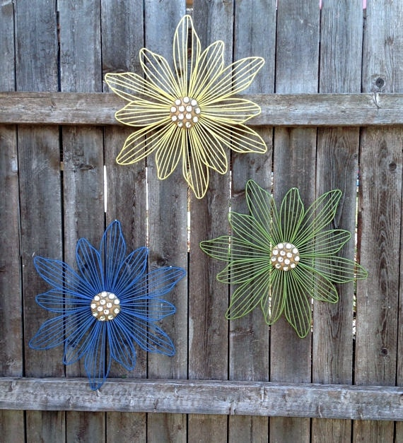 Metal Wall Art Wire Wall Flowers Set Of 3 Yellow Green