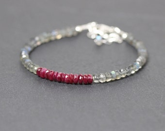 Ruby & Labradorite Bracelet in Sterling Silver or Gold Filled. Dainty Beaded Stacking Bracelet. Delicate Natural Gemstone Jewelry. Jewellery