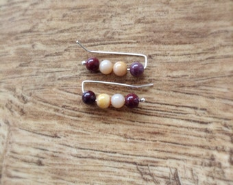 Autumn Earrings, Mookaite Ear Pins, Mookaite Ear Climber, Mookaiet Ear Cuffs, Sterling Silver Earrings, Boho Earrings