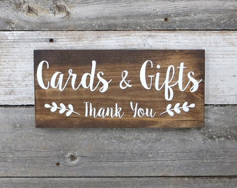 "Rustic Hand Painted Wood Wedding Sign ""Cards & Gifts - Thank You"" - Wedding Decoration - 12""x5.5"""