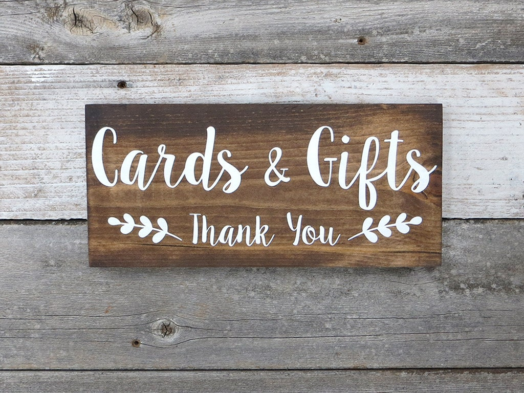 Wedding Gift Signs: Rustic Hand Painted Wood Wedding Sign Cards & Gifts