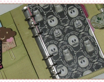 Halloween Skull and Owl Damask Personal Planner Dashboard