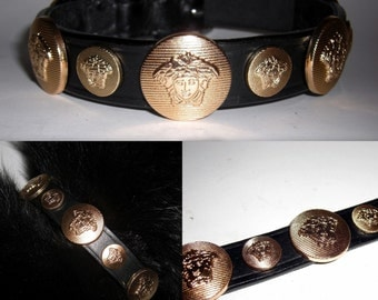 Versace 3D Gold Medusa Head Studded Designer dog collar.Medium size.Custom made in Italy. Bling up your dog. Brand new. Ships within 3 days.