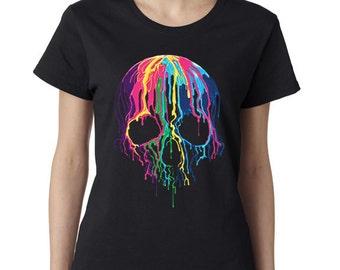 Sugar Skull -Calavera Tshirt -Dripping Skull -Day Of The Dead -Sugar Skull Tshirt -Womens Shirt -Ladies Tshirt -Ladies Shirt -Shirt -Tshirt