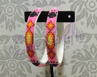 2 1/2 Inch Wrapped Beaded Hoop earrings