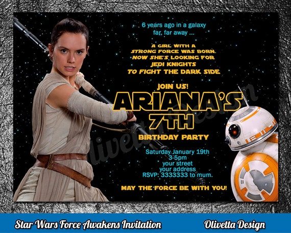 Rey Invitation Star Wars Birthday Invitation Star Wars Invitation