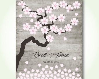 unique wedding guest book printable bridal shower sign in book floral cherry blossom wishing tree signature poster digital print jpeg pdf