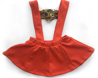 Sunday Girl Red/Orange Suspender Skirt