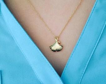 Golden gingko leaf necklace