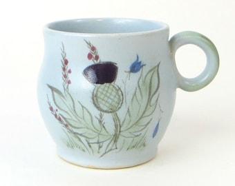 Vintage beautiful powder blue floral mug