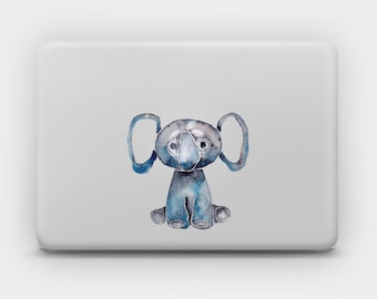 Transparent Decal Sticker for MacBook or Laptop - Blue Elephant