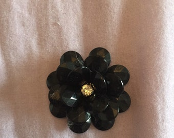 Beaded flower brooch upcycled