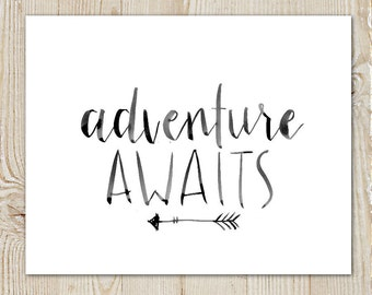 Adventure Awaits Arrow Watercolour Instant Download Printable Print