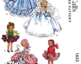 "Copy of Vintage McCalls 1653 Pattern for 7-1/2"" Doll Costumes"