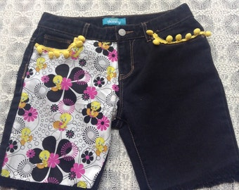 Jean Shorts Made With Tweety Bird Fabric