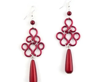 Aluminium - red lace earrings