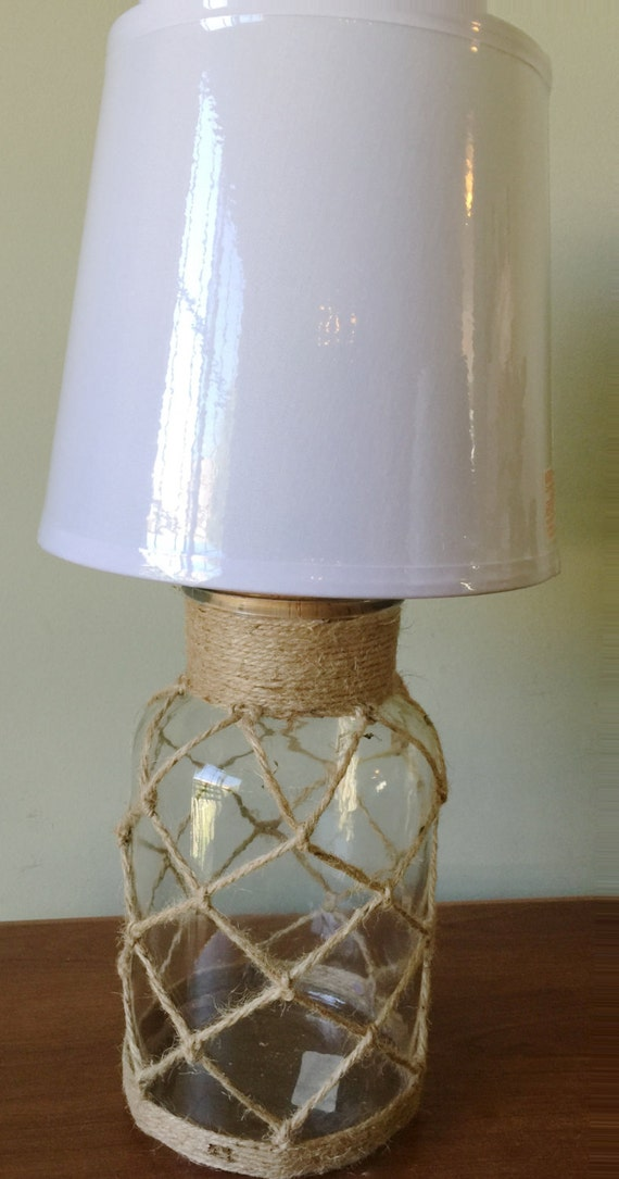 beach house nautical clear glass bottle table lamp desk lamp. Black Bedroom Furniture Sets. Home Design Ideas