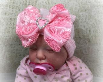 Newborn Girl Hat, Baby Hospital Hat, Baby Girl Hospital Hat, Hospital Beanie, Hospital Cap, Newborn Girl Cap, Newborn Girl Hat, Shower Gift