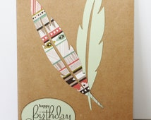 Birthday card, handmade, die cut feathers, boho style, green and earthy colours